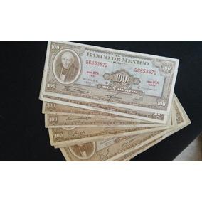 Billete Antiguo Mexicano 100 Pesos Hidalgo Café Circulado !