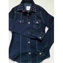 Camisa Chaqueta De Jean Elastizada Con Tachas Entallada Moda