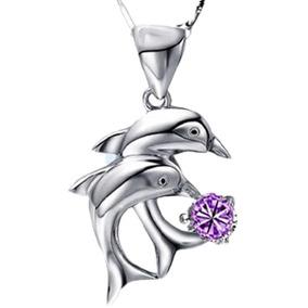 Collar Y Dije Plata .925 Delfin Mujer Joya Regalo Violeta