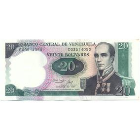 Bello Billete 20 Bolívares 1987 Conmemorativo Difícil C8 Ef+