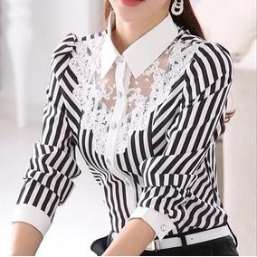 Blusa De Vestir Rayada Con Encaje, Moda Japonesa