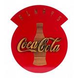 Placa Mdf Corte A Laser Alto Relevo Coca-cola 40cm X 33cm