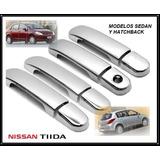 Cubre Manijas Cromadas Nissan Tiida Tuning 07-18 Importadas