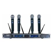 Microfone Sem Fio Quadruplo Ksr Pro Digital Bs054b2 4 Canais