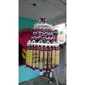Juego Set 2 Lamparas Colgantes De Bambú Artesanal C/s Socket