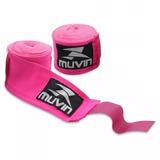 Bandagens Atadura Elastica Muay Thai Boxe Muvin Rosa