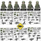 6 Minifiguras Guerra Militar + 150 Armas Compatível C/ Lego