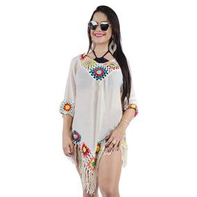 Vestido Saída De Praia Blusa Bata Summer Crochê Renda