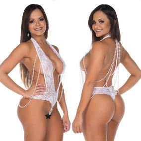 Body Feminino Renda E Pérolas Decote Sexy Lingerie Afrodite