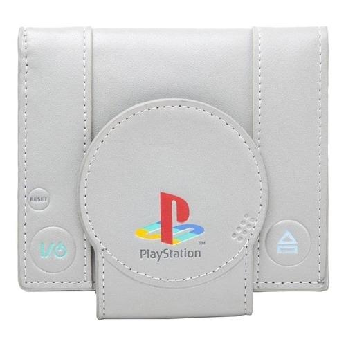 Billetera Bioworld PlayStation One grey poliéster y poliuretano