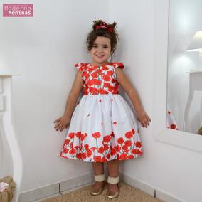 Vestido Infantil Floral Branco Com Rosas Vermelhas