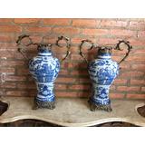 Antigo Par De Vasos De Porcelana E Bronze !! Lindos !!