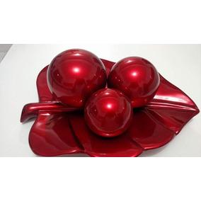 Enfeite Centro De Mesa Classic Vermelho Com 3 Bolas