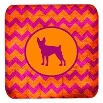 Conjunto De 4 Toy Fox Terrier Chevron Rosado Y Anaranjado De