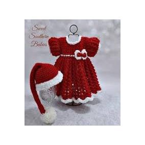 Vestido Y Gorro Tejidos A Corchet Tema Navidad