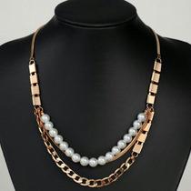 Collar Oro Lam. Rosado 18k Con Perlas Elegante Envio Gratis