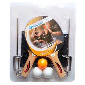 Set De Dos Paletas Cortas De Ping Pong Con Pelotas Y Malla
