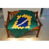 Tapete Barbante Crochê Bandeira Do Brasil