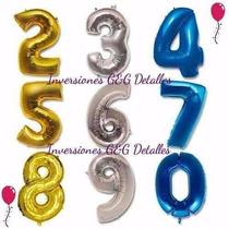 Globos Metalizados D Numeros Grandes 75cm Cumpleaños Tienda
