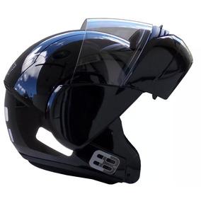 Capacete Moto Ebf E08 Articulado Robocop 58 Preto Brilho
