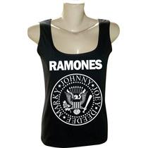 Camiseta Blusa Regata Feminina Rock Bandas Ramones