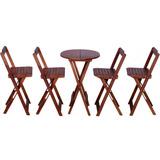 Jogo Mesa Alta Bistrô Com 4 Cadeira Redonda Madeira Dobrável