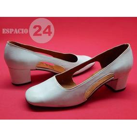 Zapatos P/dama Talle 36 Nuevos Color Blanco De Cuero Años 60