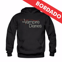 Canguru Bordado The Vampire Diaries Moletom Blusa Agasalho