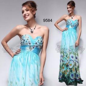 Vestido Festa Formatura Madrinha Azul Floral Pedrarias 46 48