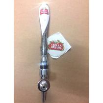 Nova Manopla Chopp Metal Inox Cerveja Stella Artois + Brinde