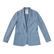 Blazer Básico Feminino Em Linho Hering - Azul Claro