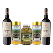 Aceite De Oliva Yancanelo 1l X2 + Aceitunas Verdes + 2 Vinos