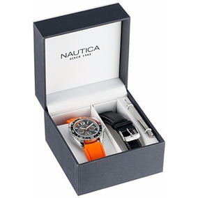 Reloj Nautica N09908g De Acero Inoxidable Color Naranja
