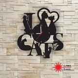 Relógio Gama Laser - I Love Cats - Eu Amo Gatos