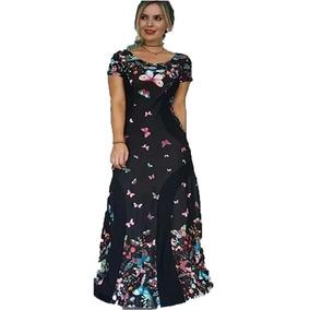 Vestido Longo Estampa Estampado Borboleta Borboletas 2018