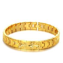 Bracelete Masculino Vintage Banhado Em Ouro Amarelo 18k 10mm