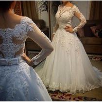 Vestido Noiva Princesa Manga Tule Aberto Casamento Importado