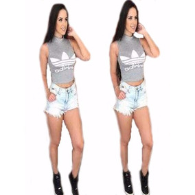 Cropped Blusa adidas Gola Alta Suplex Preto Cinza