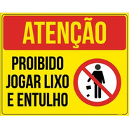 Placa Proibido Jogar Lixo E Entulho - 30x20cm Ps 2mm