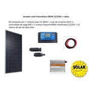 Gerador Solar Fotovoltaico Offgrid 285w 12 / 220v +  Cabo