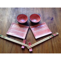Set Sushi Para Dos 8 Piezas Cerámica Artesanal Hecho A Mano
