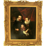 Antigua Y Fina Pintura Al Óleo, Familia Real, Siglo Xviii