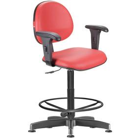 Cadeira Caixa Alta Vermelho Com Braços