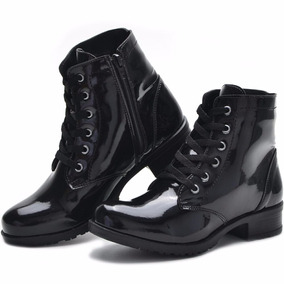 Bota Coturno Cr Shoes Verniz Preto