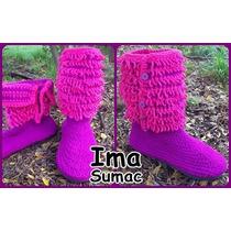 Pantuflas Botas De Lana En Crochet. Artesanales