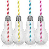 12 Copo Caneca Garrafa Lâmpada De Vidro + Canudo Colorido