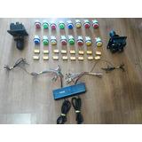 Kit Arcade 20 Botoes + 20 Micros + 2 Joystick + Controle 2p