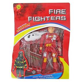 Boneco Bombeiro Fire Fighters Com Helicoptero E Acessorios