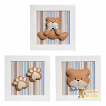 Trio Quadrinhos Decorados Quarto Bebê Infantil Urso Ursinho