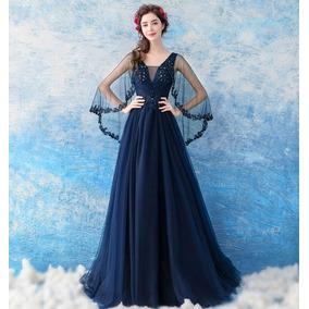 Vestido Debutante Azul Marinho 34 36 38 40 42 44 46 Va00219
